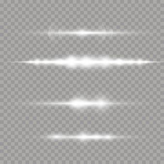 Wiązki laserowe, poziome promienie świetlne. białe świecące światło wybucha na przezroczystym tle. piękne rozbłyski światła.