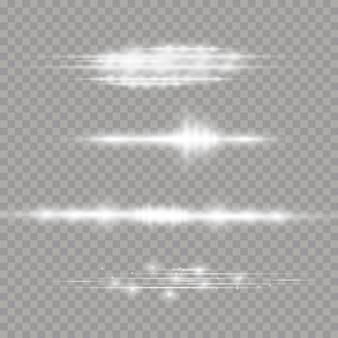 Wiązki laserowe, poziome promienie świetlne. piękne rozbłyski światła. białe świecące światło wybucha na przezroczystym tle.