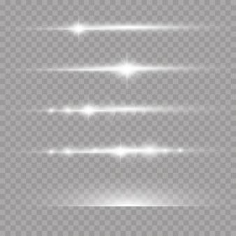 Wiązki laserowe, poziome promienie świetlne zestaw białych rozbłysków soczewki