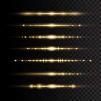 Wiązki laserowe poziome promienie świetlne. żółte świecące światło wybucha na przezroczystym tle. promienie słoneczne. piękne rozbłyski światła. ilustracja,.