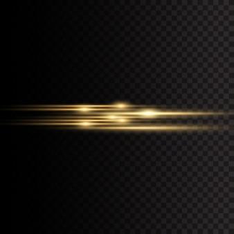 Wiązki laserowe, poziome promienie świetlne. żółte świecące światło wybucha na przezroczystym tle. promienie słoneczne. piękne rozbłyski światła. ilustracja,.