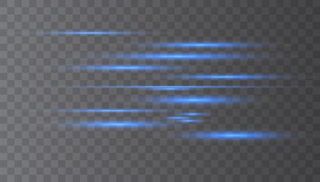Wiązki laserowe, poziome promienie świetlne.