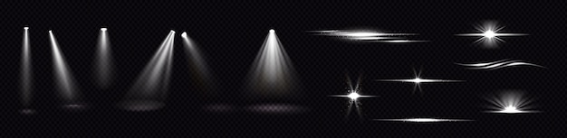 Wiązki światła z reflektorów i błysków na przezroczystym tle. realistyczny zestaw efektów flary, jasnych białych promieni i odblasków z iskrami. świeci i flary projektora