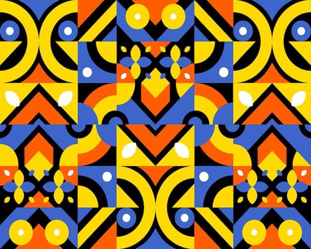 Wibrujący abstrakcyjny wzór płaskiej mozaiki geometrycznej dla szablonu transparent ulotki broszury