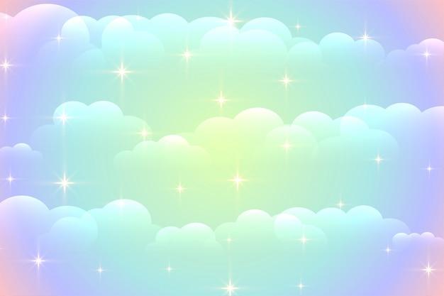 Wibrujący chmury tło z błyszczącymi gwiazdami