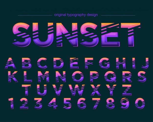 Wibrujący kolorowy pasiasty projekt typografii