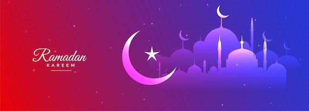 Wibrujący ramadan kareem piękny sezonowy projekt transparentu