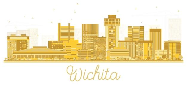 Wichita kansas city skyline złota sylwetka ilustracja wektorowa