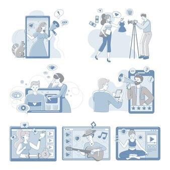 Wideo blogerów i vlogerów ludzie robi zawartości dla internet kreskówki konturu ilustraci.
