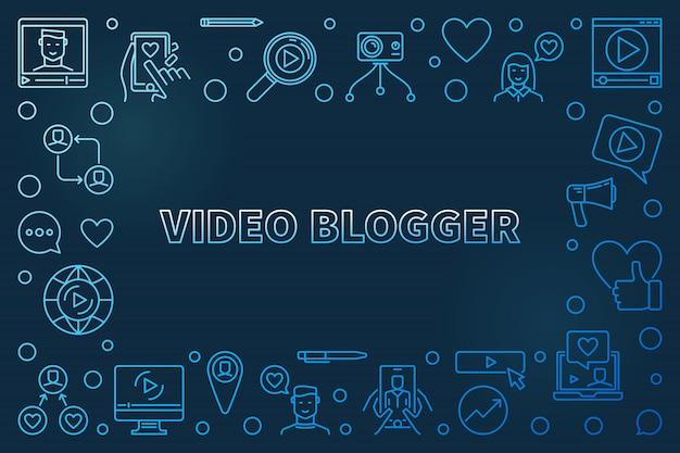 Wideo blogger koncepcja zarys niebieska ramka pozioma
