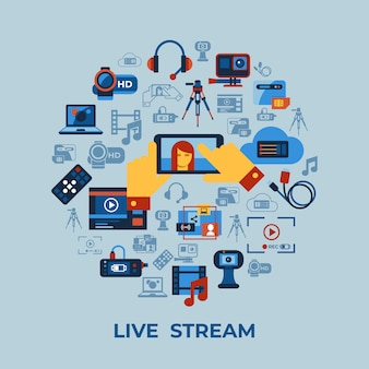 Wideo na żądanie kolekcja ikony technologii transmisji strumieniowej online