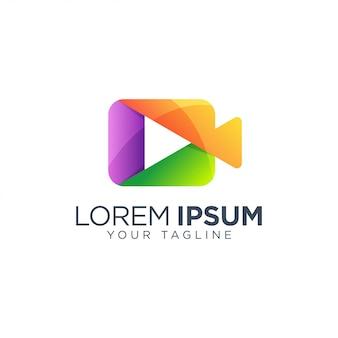 Wideo odtwórz logo projekt szablon wektor na białym tle