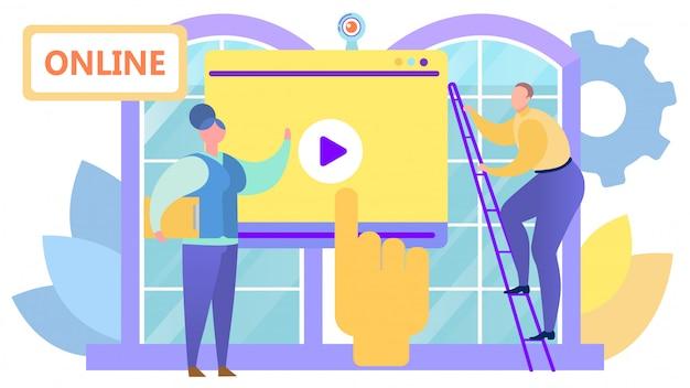 Wideo seminarium internetowe w mediach internetowych, ilustracja. przycisk play na ekranie, komputerowa technologia komunikacji biznesowej w internecie.