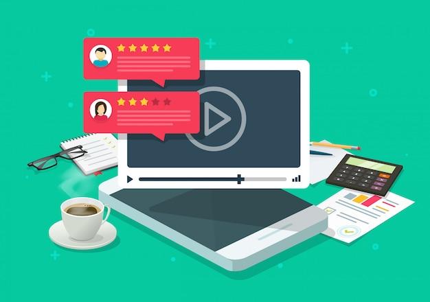 Wideo zawartości przeglądu opinii online na telefonie komórkowym miejscu pracy lub informacje zwrotne i reputaci gadki oceny kreskówki płaska ilustracja