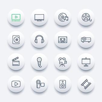 Wideo, zestaw ikon audio, styl liniowy