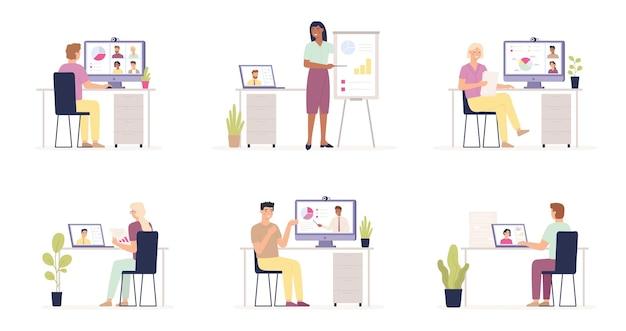 Wideokonferencja biznesowa. praca z domu. konferencja online, spotkanie, ilustracja zespołu grupy biznesowej