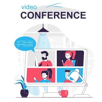Wideokonferencja na białym tle koncepcja kreskówki komunikacja wideo online z kolegami