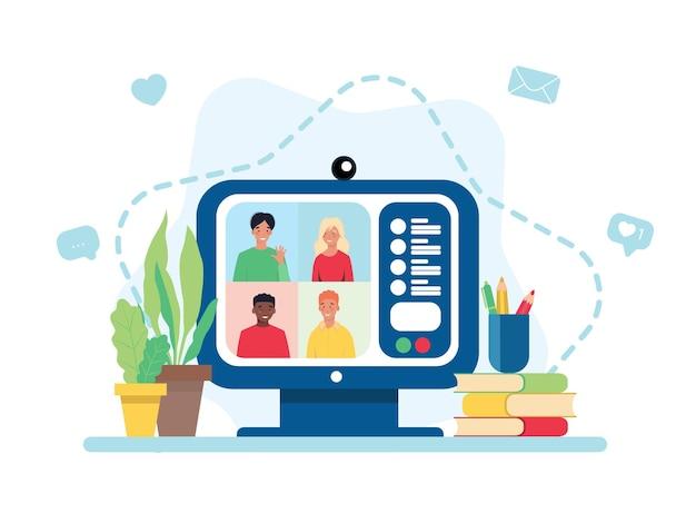 Wideokonferencja na ekranie komputera. spotkanie online za pośrednictwem połączenia grupowego