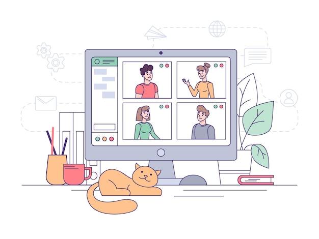 Wideokonferencja, rozmowa biznesowa online w biurze domowym i komunikacja w pracy zespołowej