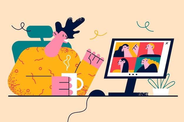 Wideokonferencja, spotkanie online, koncepcja pracy zdalnej