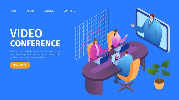 Wideokonferencja, strona docelowa połączeń biznesowych online, ilustracja. biznesmeni mówiąc przez kamerę internetową na ekranie komputera, technologia wideokonferencji. webinar, szkolenie, prezentacja.