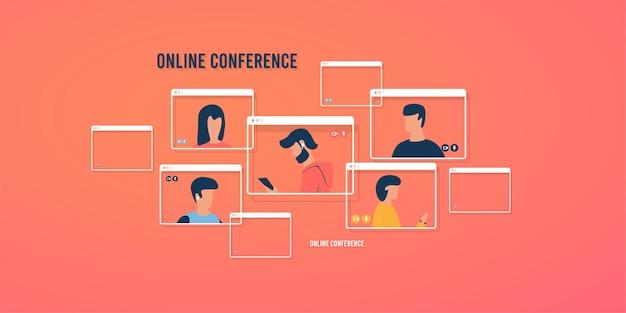 Wideokonferencja. webinar online.