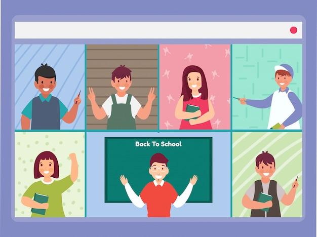 Wideokonferencje online uczniów i nauczycieli z ich domu na stronie internetowej.