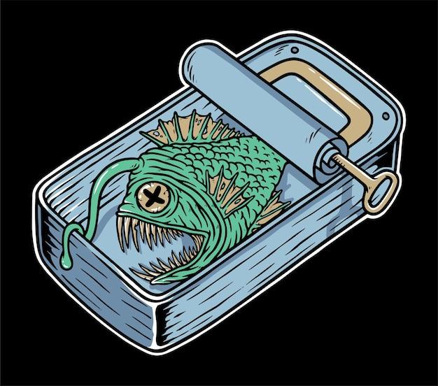 Widmo ryby w puszce na czarnym tle