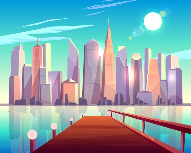 Widok architektury miasta z molo. budynki megapolis błyszczące w jasnych promieniach słońca odbijających się w powierzchni wody.