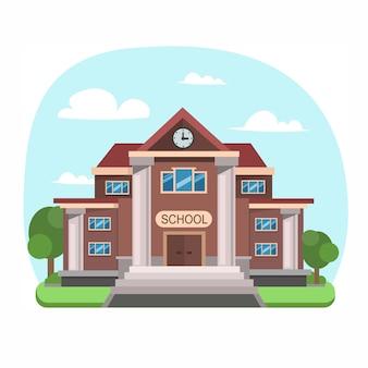 Widok budynku szkoły. styl płaska konstrukcja. ilustracja