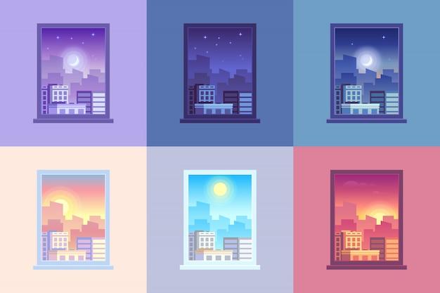 Widok czasu dnia okna.