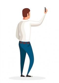 Widok człowieka rysującego na ścianie z tyłu. mężczyzna w białej koszuli i niebieskich dżinsach. bez twarzy . postać z kreskówki. ilustracja na białym tle