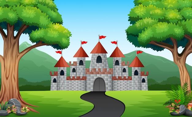 Widok drogi do zamku od frontu