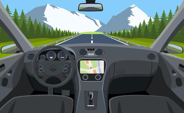 Widok drogi z wnętrza samochodu.