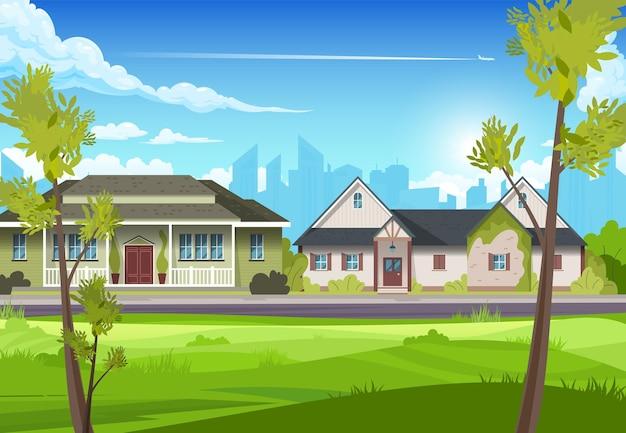 Widok dwóch podmiejskich wiejskich domów z cienkimi drzewami na pierwszym planie płaskiej ilustracji