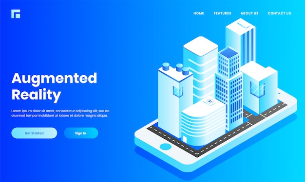 Widok izometryczny budynku budowlanego, domu i szpitala, podobnie jak aplikacja mobilna na smartfona do strony internetowej lub projektu strony docelowej.