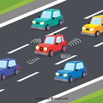 Widok izometryczny futurystyczny samochód autonomiczny