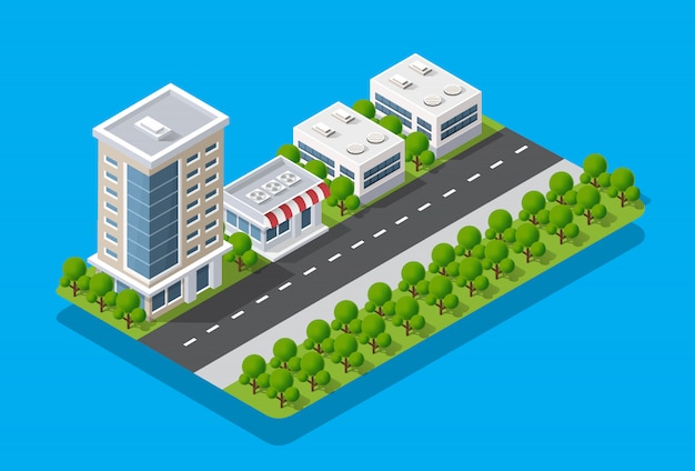Widok izometryczny miasta. kolekcja domów