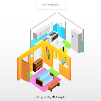 Widok izometryczny nowoczesne wnętrze domu