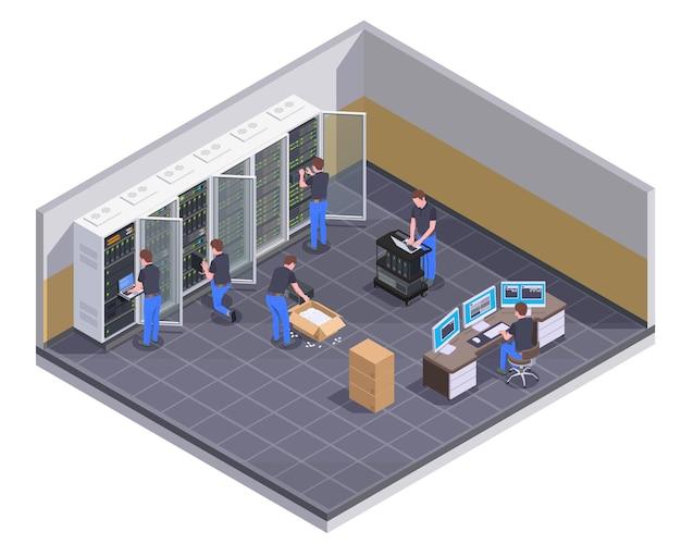 Widok izometryczny obiektu centrum danych z personelem pracującym nad różnymi zadaniami