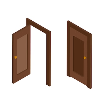 Widok izometryczny otwarte i zamknięte brązowe drzwi wejściowe. drzwi izizometryczne con. ilustracja na białym tle.