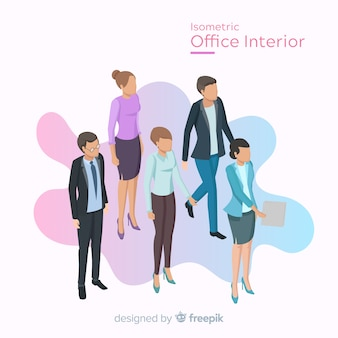 Widok izometryczny pracowników biurowych z Płaska konstrukcja
