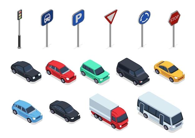 Widok izometryczny samochodów i znaków drogowych, pojazdy 3d na białym tle