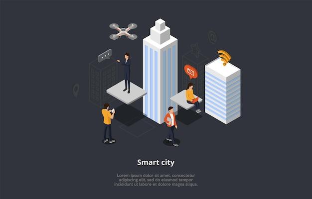 Widok izometryczny skład bezprzewodowego miasta z ludźmi przy użyciu nowoczesnych technologii. ilustracja wektorowa 3d w stylu kreskówki