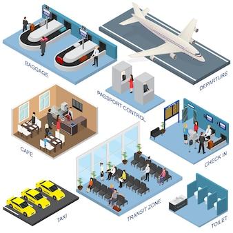 Widok izometryczny strefy lotniska — odloty, bagaż, kontrola paszportowa, kawiarnie, tranzyt, toaleta, taksówka i odprawa. ilustracja wektorowa