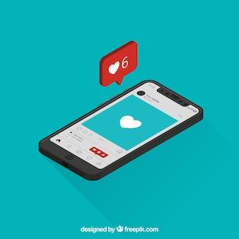 Widok izometryczny telefonu komórkowego z postu instagram