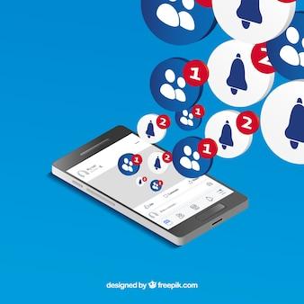 Widok izometryczny telefonu komórkowego z powiadomieniami na facebooku