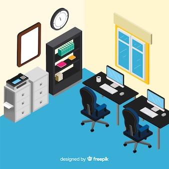 Widok izometryczny wnętrza nowoczesne biuro
