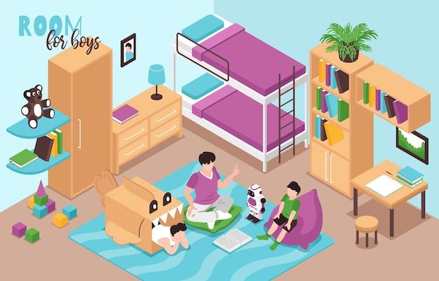 Widok izometryczny wnętrza pokoju chłopca z łóżkiem piętrowym regały na książki zabawki robot rekin tekturowy