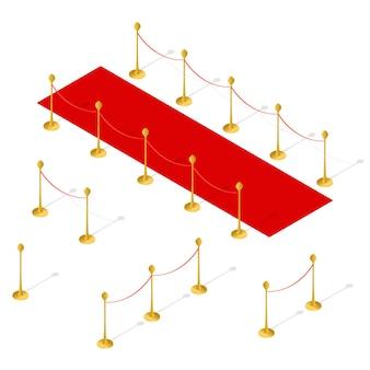Widok izometryczny zestawu czerwonego dywanu i bariery linowej.
